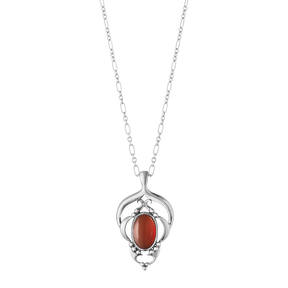 HERITAGE pendant - sterling silver with carnelian