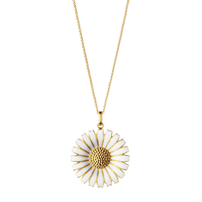 DAISY pendant - gold plated sterling silver with white enamel