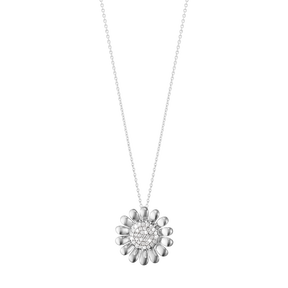 SUNFLOWER pendant - sterling silver with brilliant cut diamonds, large