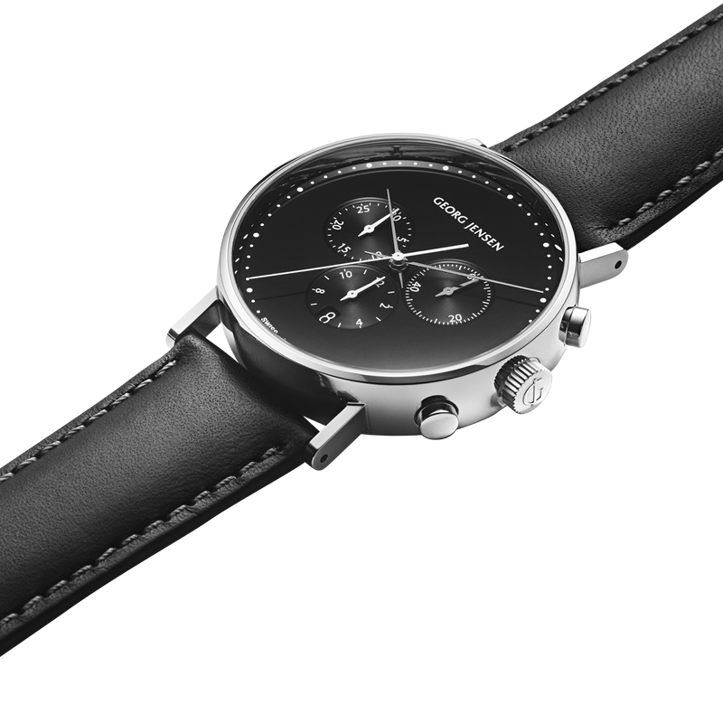 KOPPEL - 41 mm, Chronograph, black dial, black leather strap