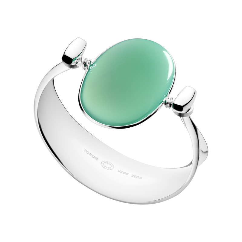 Bangle 203A - sterling silver with green agate