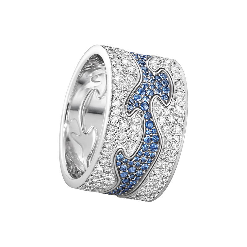 FUSION 3-piece ring - 18 kt. white gold with brilliant cut diamonds and blue sapphires