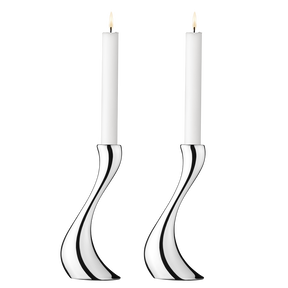 COBRA Candleholder with candles 2pcs, stainless steel, medium