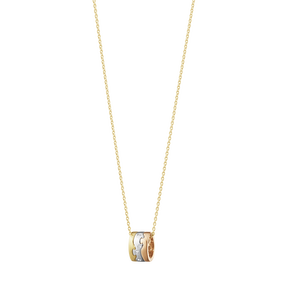 FUSION pendant – 18 kt. yellow gold, white gold, rose gold with diamond 0.05 ct