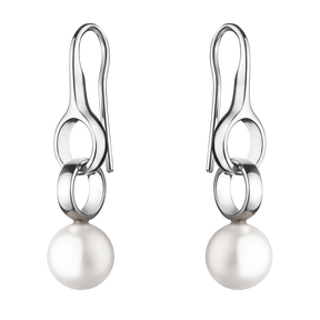 SPHERE earrings - sterling silver with white freshwater cultured pearls