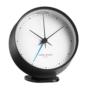 HK CLOCK w. alarm, black-white, 10 cm