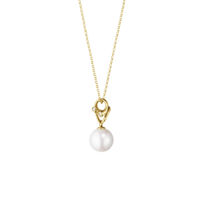 MAGIC pendant - 18 kt. yellow gold with pearl and diamonds