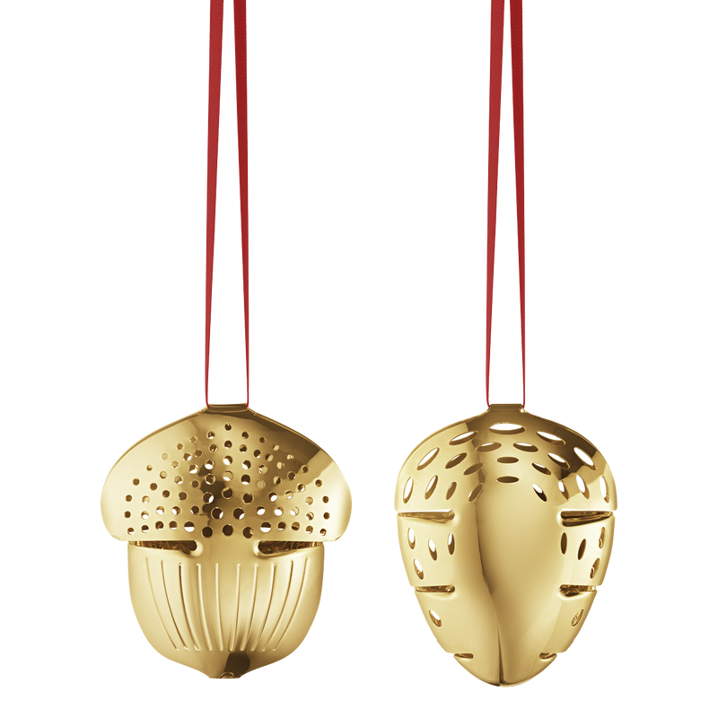CHRISTMAS mobile acorn pinecone - gold plated brass