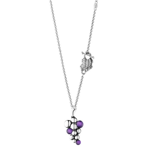 MOONLIGHT GRAPES pendant - oxidised sterling silver with amethyst, small
