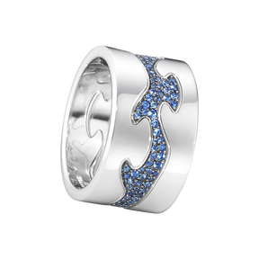 FUSION 3-piece ring - 18 kt. white gold with blue sapphires
