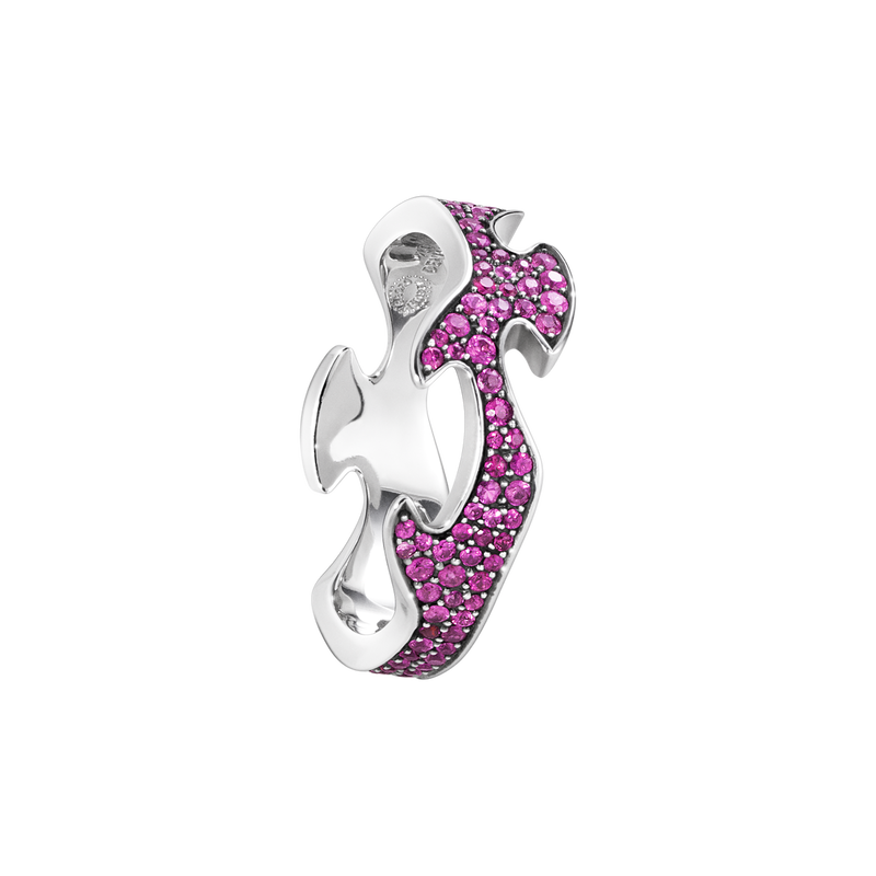 FUSION centre ring - 18 kt. white gold with pink sapphires