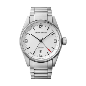 DELTA CLASSIC - 42 mm, Automatic mechanical, GMT, white dial, steel bracelet