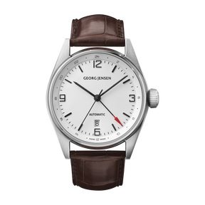 DELTA CLASSIC - 42 mm, Automatic mechanical, GMT, white dial, brown alligator strap