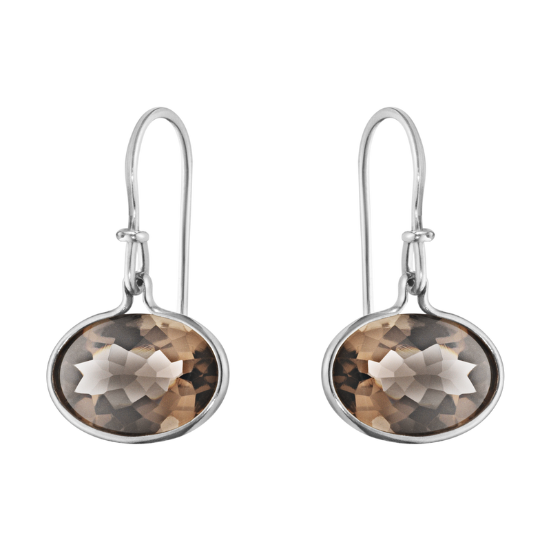 SAVANNAH earrings - sterling silver with smokey quartz