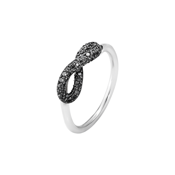 INFINITY ring - sterling silver with black brilliant cut diamonds