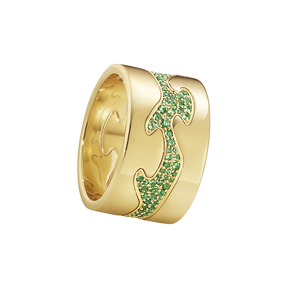 Fusion 3-piece ring - 18 kt. yellow gold with emeralds