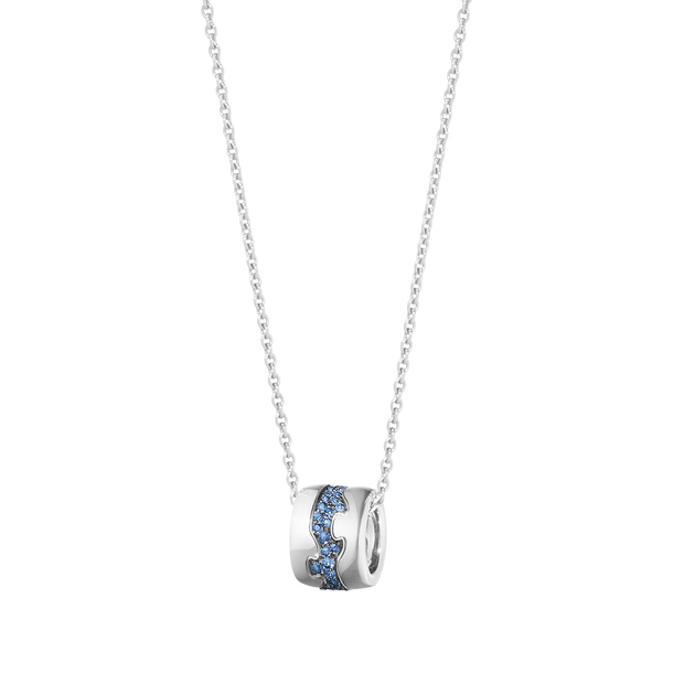 FUSION pendant - 18 kt. white gold with pavé set blue sapphires
