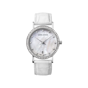 KOPPEL - 32 mm, Quartz, white mother-of-pearl dial, diamond bezel, white alligator strap