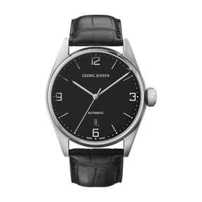 DELTA CLASSIC - 42 mm, Automatic mechanical, black dial, black alligator strap