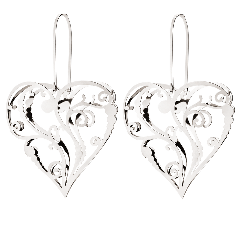 JOHANNE set cornet heart palladium plated, small 2 pcs