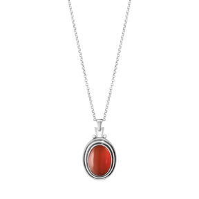MOONLIGHT BLOSSOM pendant - Oxidised sterling silver with carnelian