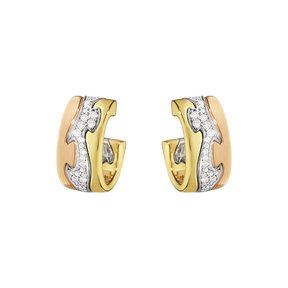 FUSION earrings - 18 kt. gold with pavé set brilliant cut diamonds