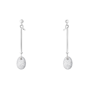 DEW DROP earrings - 18 kt. white gold with brilliant cut diamonds