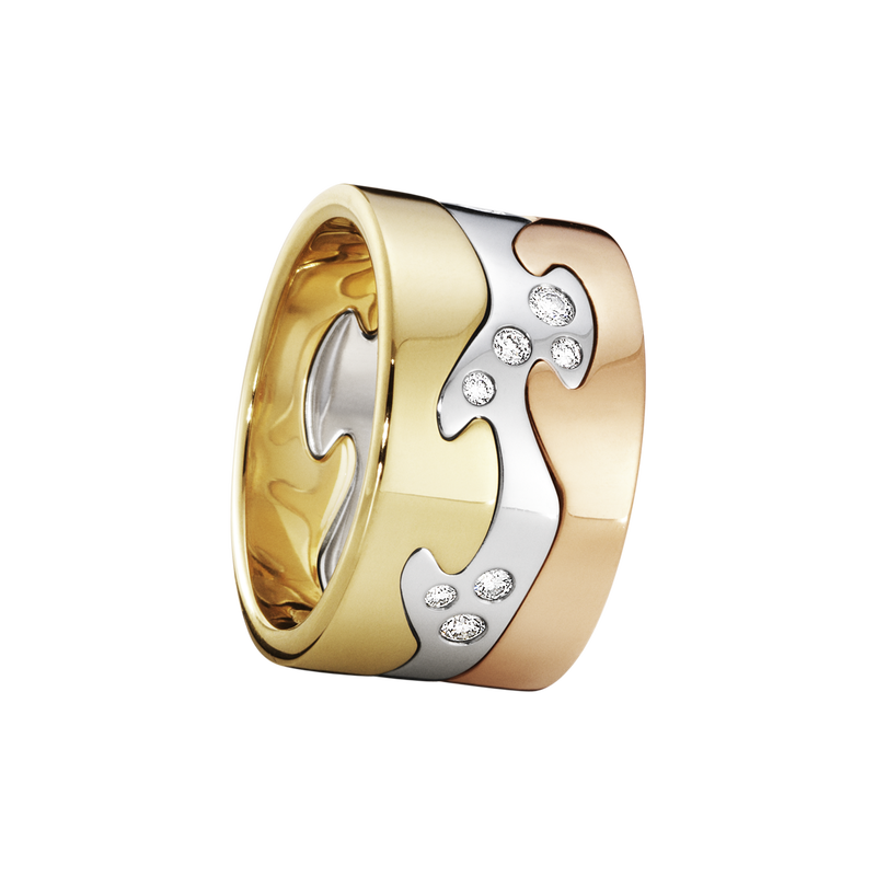 FUSION 3-piece ring - 18 kt. yellow gold, rose gold and white gold with brillant cut diamonds