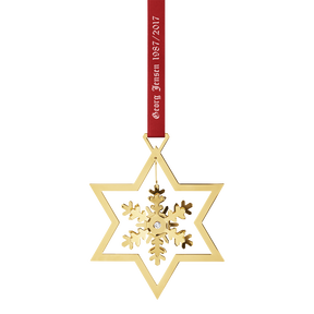1987-2017 Christmas mobile snowflake, gold plated