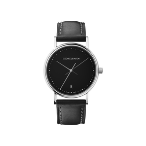 KOPPEL - 32 mm, Quartz, black dial, black leather strap