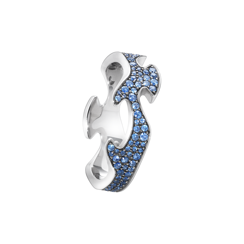 FUSION centre ring - 18 kt. white gold with blue sapphires