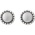 MOONLIGHT BLOSSOM earstuds - sterling silver with silver stone