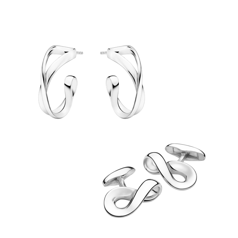 INFINITY, Earhoops and Cufflinks set in sterling silver.