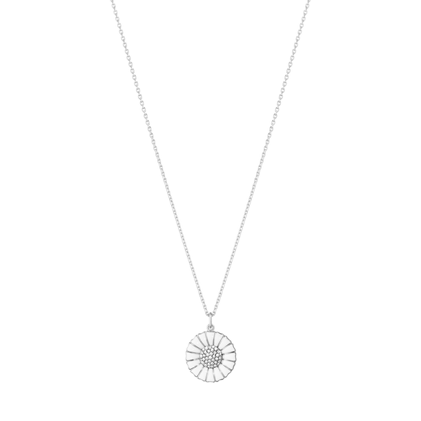 Georg Jensen Daisy Rhodium Plated Sterling Silver Pendant with Diamonds New
