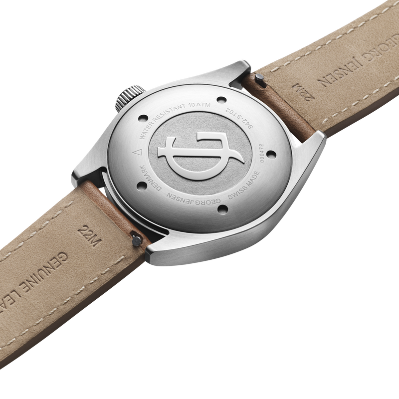 DELTA CLASSIC - 42 mm, Quartz, white dial, tan leather strap