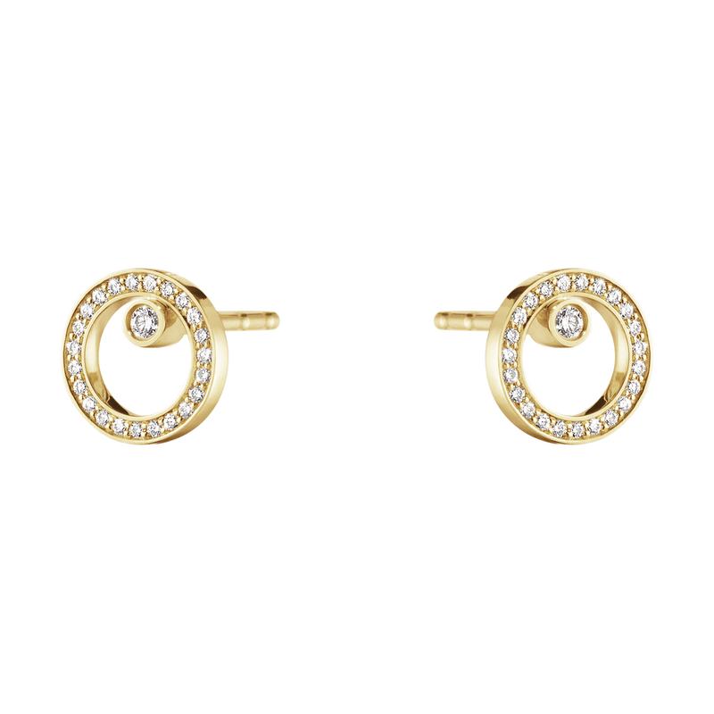 HALO earrings - 18 kt. gold with brilliant cut diamonds