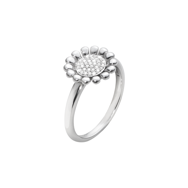 SUNFLOWER ring - sterling silver with brilliant cut diamonds, small