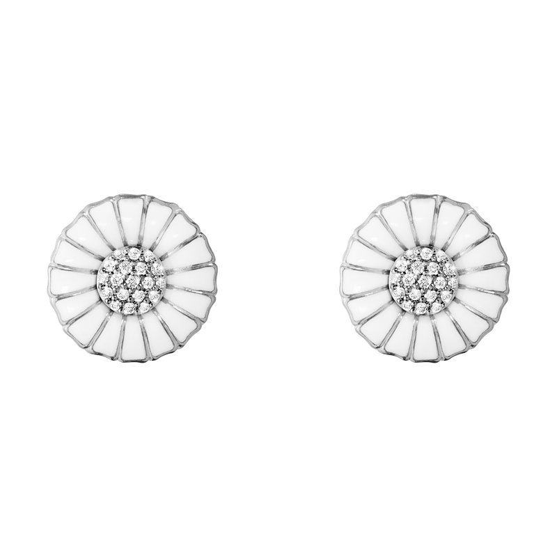 DAISY earrings - rhodium plated sterling silver with diamonds