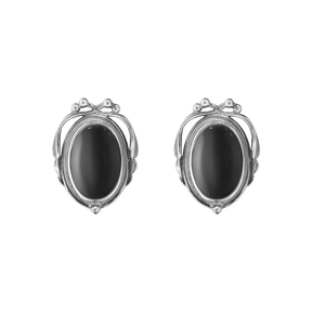 2017 HERITAGE earclips - oxidised sterling silver with black onyx