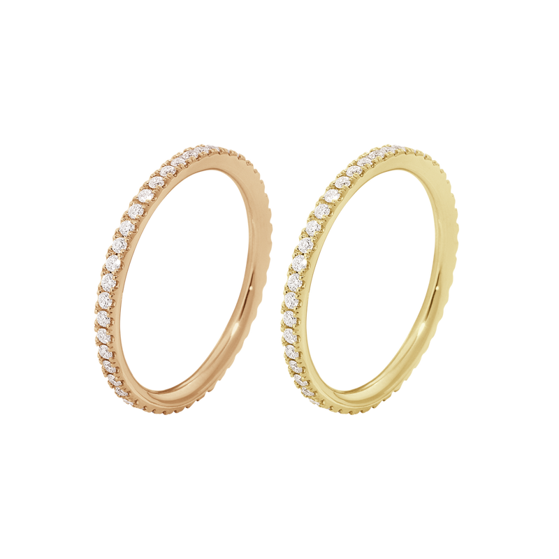 AURORA, Ring-set in rose and yellow gold with brilliant cut diamonds.