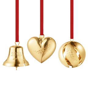 2018 Heart, Bell and Ball Collectibles gift set - gold plated