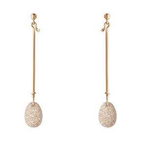 DEW DROP earrings - 18 kt. rose gold with cinnamon diamonds