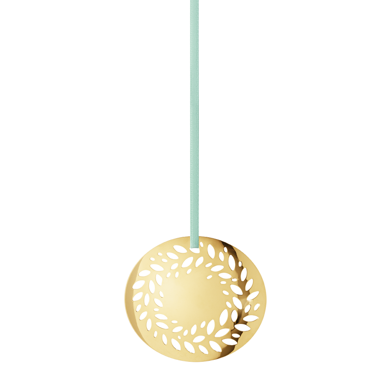 2016 Holiday Ornament Solid Wreath, gold plated