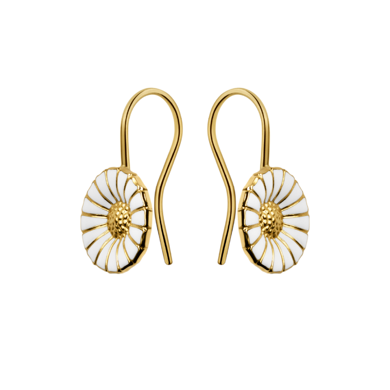 Gold plated Silver //white Enamel 7 mm. Details about  /Georg Jensen Daisy Earrings