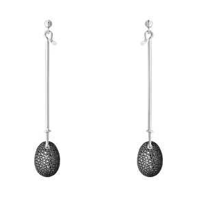 DEW DROP earrings - 18 kt. white gold with black diamonds