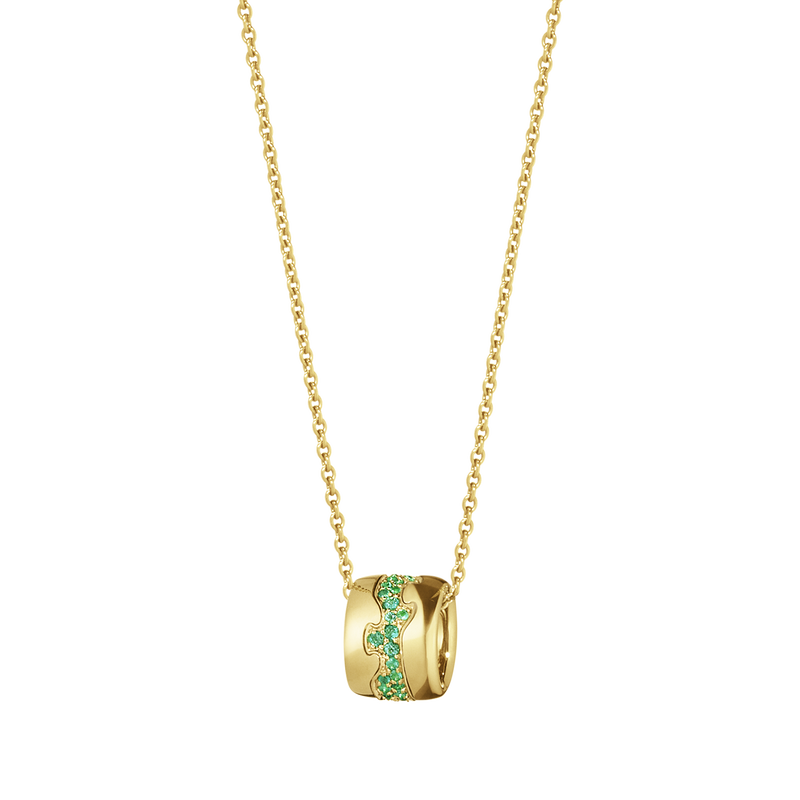 FUSION pendant - 18 kt. yellow gold with pavé set emeralds