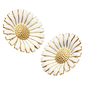 DAISY earclips - gold plated sterling silver with white enamel