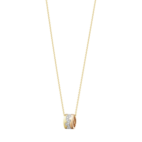 FUSION pendant – 18 kt  yellow gold, white gold, rose gold with centre pavé  0 19 ct