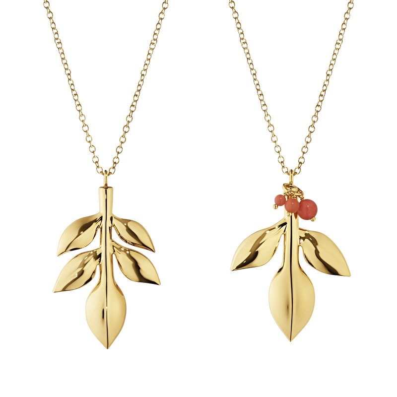 2016 Ornament set, Magnolia Leaf and Leaf with Berries, gold plated