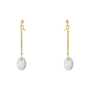DEW DROP earrings - 18 kt. yellow and white gold with brilliant cut diamonds